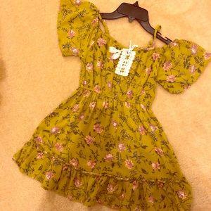 Art Class Olive Floral Print Cold Shoulder Dress